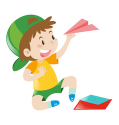 Boy holding paper plane vector