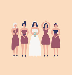 bride in elegant white gown and bridesmaids vector image
