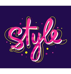 bright pink lettering style on dark backg vector image