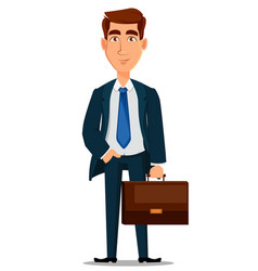 business man in formal suit holding briefcase vector image