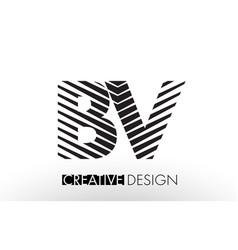 Bv b v lines letter design with creative elegant vector