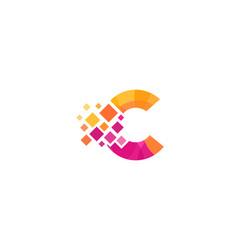 C letter pixel logo icon design vector