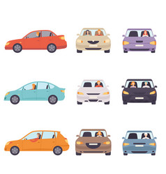 cars with drivers set side and front view flat vector image