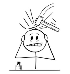 cartoon man suffering from severe headache or vector image