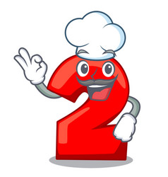 chef character number two on wooden door vector image