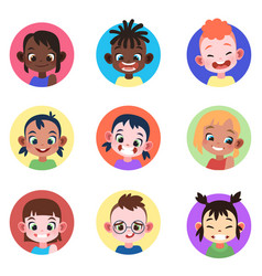 Children avatar faces childhood cute kids boys vector