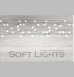 christmas lights on wood texture soft winter vector image