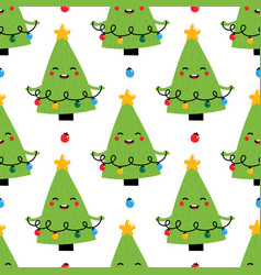 christmas tree character holding garland pattern vector image
