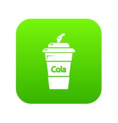 cola plastic glass icon green vector image
