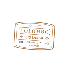 colombo airport stamp isolated vector image