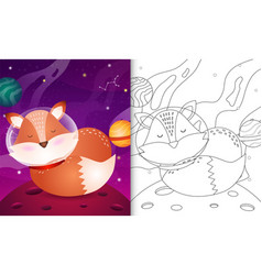 Coloring book for kids with a cute fox vector