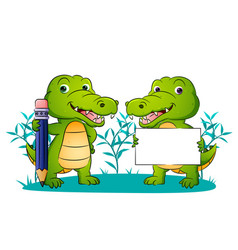 Couple student crocodile is holding vector