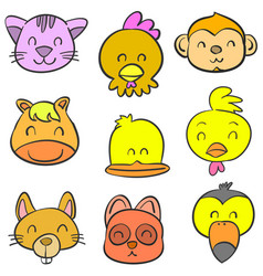 Cute animal head style of doodles vector