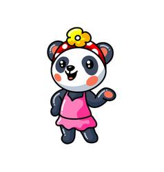 Cute little panda girl cartoon in a pink dress vector