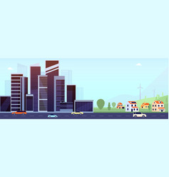 downtown and suburb flat city modern office vector image