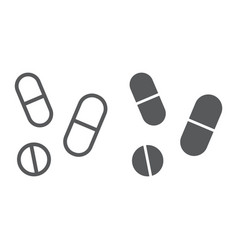 drugs line and glyph icon pharmacy and medicine vector image