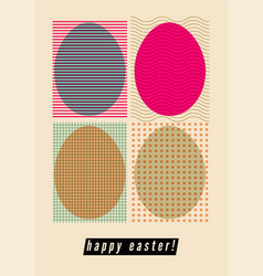 Easter greeting card with ornamental eggs vector