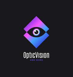 eye logo design optic vision icon on black vector image