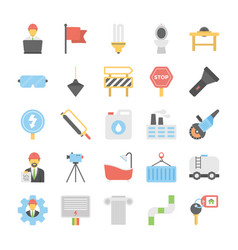 Flat icons industrial and construction vector