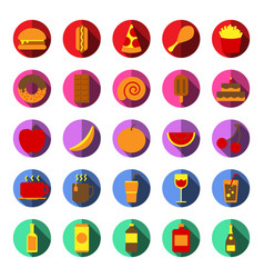 food and drink icon set color and long shadow vector image