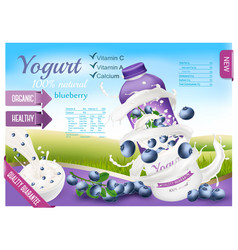 Fruit yogurt with berries advert concept white vector
