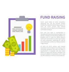 Fund raising promo banner with money and chart vector