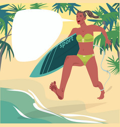 girl in runs on beach with surfboard vector image