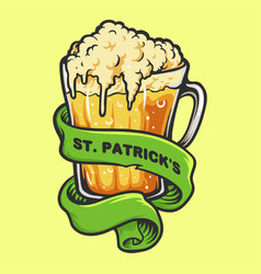 glasses beer with ribbon st patricks element vector image