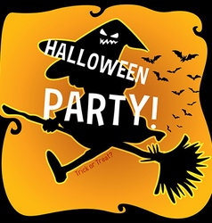 Halloween theme with witch on broom vector