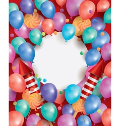 Happy Birthday Card with Flying Balloons vector