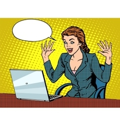 Happy business woman with laptop vector