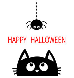 happy halloween black cat face head silhouette vector image