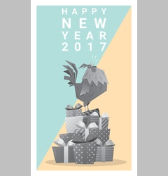 Happy new year 2017 card with rooster 10 vector image