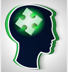 human head concept of a new idea piece of the vector image