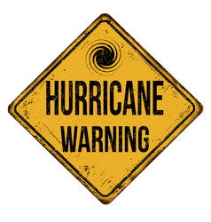 Hurricane warning vintage rusty metal sign vector