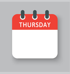 icon calendar page days week thursday vector image