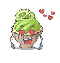 in love lemon cupcake mascot cartoon vector image