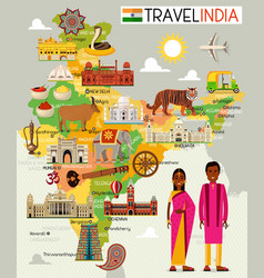 india travel map with sightseeing places vector image