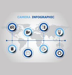infographic design with camera icons vector image
