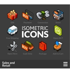 Isometric outline icons set 28 vector