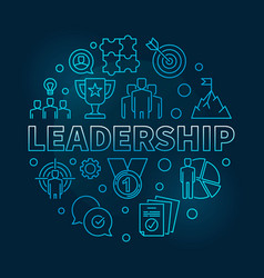 Leadership round blue in thin vector
