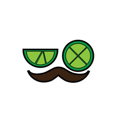 lemon lime eyes with mustache mexico culture icon vector image