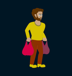 Man on shopping with packages vector