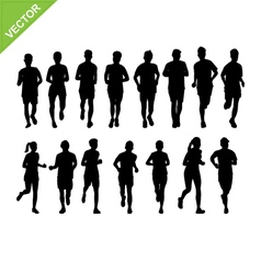 Marathon running silhouette vector