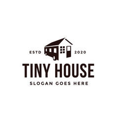 Minimalist tiny house trailer logo vector
