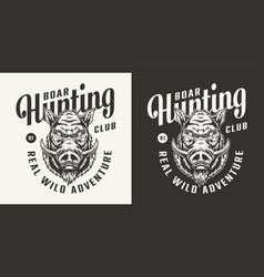 monochrome hunting club logotype vector image