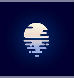 Moon and reflection flat icon moonlight logo vector