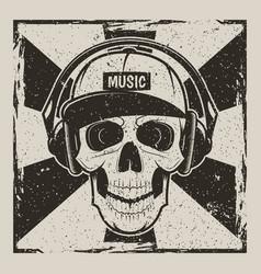 Music skull vintage grunge design vector