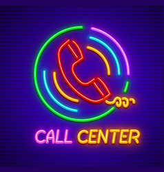 Neon icon for call center vector