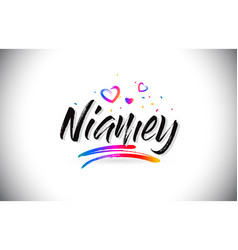 Niamey welcome to word text with love hearts and vector